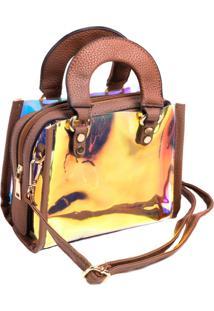 Bolsa Paul Ryan Neon Marrom E Translúcido Colorido - Pr2008