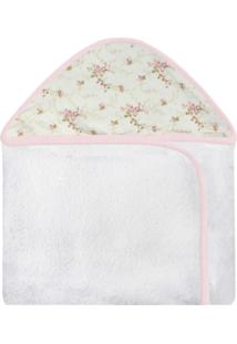 Toalha De Banho C/ Capuz Estampado Laura Baby - Floral Rosa