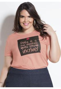 T-Shirt Salmão Com Estampa Plus Size Marguerite