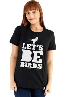 Baby Look Ouroboros Manga Curta Let'S Be Birds - Feminino
