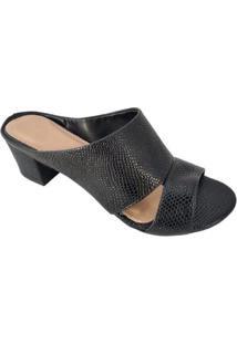 Sandália Salto Sapatoweb Lizard Feminina - Feminino-Preto