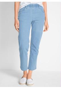 Calça Jeans Com Elástico No Cós Azul Claro