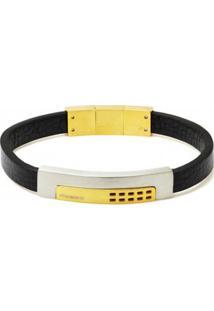 Bracelete Rosso De Couro Preto Com Placa Gold E Fecho Magnético - Unissex-Dourado