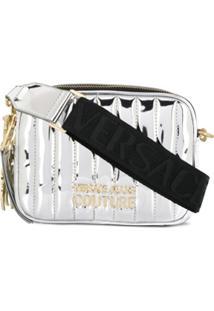 Versace Jeans Couture Quilted Logo Plaque Shoulder Bag - Prateado