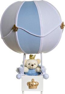 Abajur Balãozinho Ursinho Príncipe Bebê Infantil Potinho De Mel Azul - Kanui