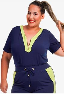 Blusa Plus Size Com ZãPer Decote Bicolor - Azul/Azul Marinho - Feminino - Poliã©Ster - Dafiti