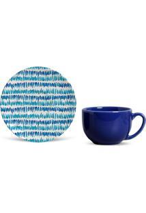 Xícara De Chá Com Pires Brahma Azul E Branca 9,3X15,5X15,5 Cm