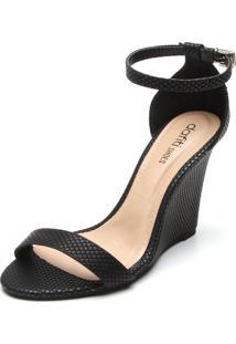 Sandália Dafiti Shoes Anabela Texturizada Preta
