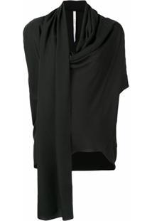 Poiret Blusa Com Drapeado - Preto