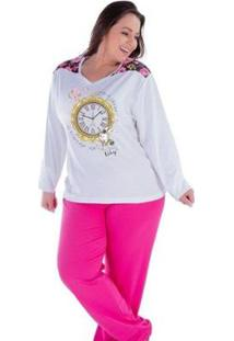 Pijama Feminino Victory Plus Size Inverno Frio Longo Canelado - Feminino-Vermelho