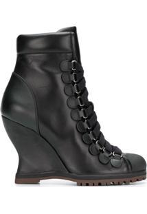 Chloé Ankle Boot Plataforma De Couro - Preto
