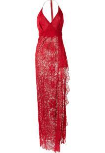 Martha Medeiros Vestido 'Renascença' De Renda - Vermelho