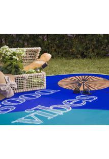 Tapete Redondo Ploc Good Vibes Jolitex Azul