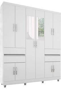 Guarda-Roupa Casal Com Espelho Vick Flex 10 Pt Branco E Lilas