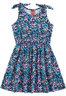 Vestido Arabescos- Azul Marinho & Laranja Claro- Kylkyly
