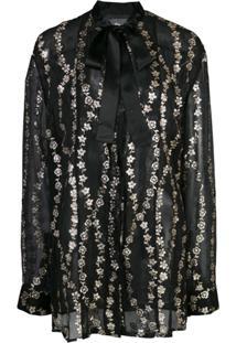 Haider Ackermann Blusa Translúcida Com Bordado Floral - Preto