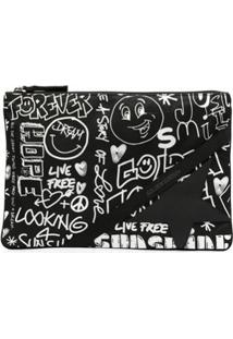 Golden Goose Clutch Com Estampa De Grafite - Preto