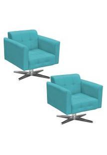 Kit 2 Poltronas Decorativas Base Cromada Giratória Ana Suede Azul Tiffany - Ibiza