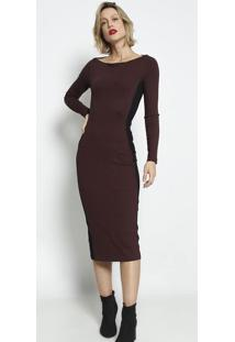 Vestido MãDi Canelado Com Recortes- Marrom Escuro & Pretforum