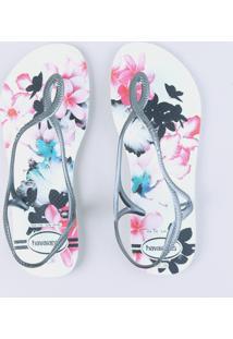 Chinelo Havaianas Feminino Estampado Floral Branco
