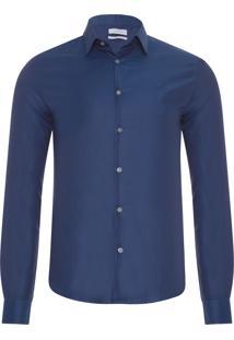 Camisa Masculina Slim Com Colarinho Geneva - Azul