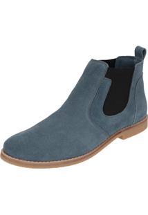 Botina Escrete Chelsea Boots Azul Turqueza Couro Camurça