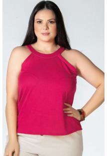 Blusa Pink Plus Size Com Faixa No Decote