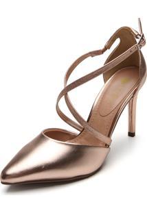 Scarpin D.Dress Metalizado Bronze