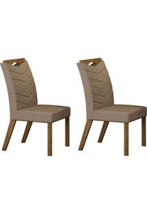 Conjunto Com 2 Cadeiras Verona Ipê E Veludo Camurça