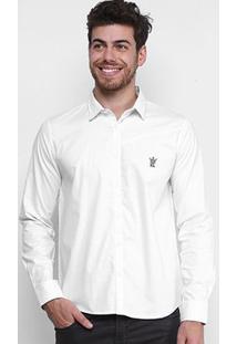 Camisa Opera Rock Logo Bordado Masculina - Masculino-Off White