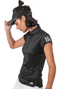 Camisa Polo Adidas Performance Club 3 Stripes Preta - Kanui