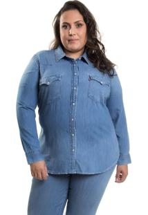 Camisa Levis Western Plus Size Azul