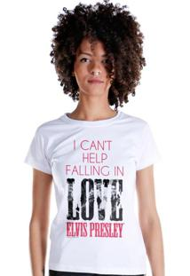 Camiseta Bandup Bandas Elvis Presley I Cant Help Falling In Love Branco