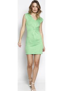 c2b934198 ... Vestido Com Torção- Verde Claro- Colccicolcci