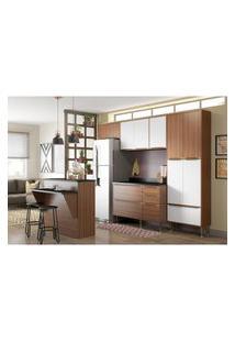 Cozinha Modulada Multimóveis 5464 Calábria 6 Peças Nogueira/Branco