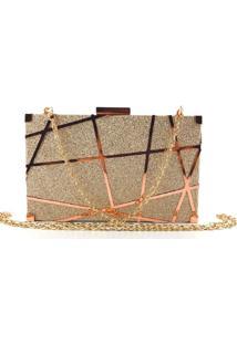 Bolsa Clutch Liage Brilho Fosca Alça Removível Dourada Rosada/ Rosê/ Bronze