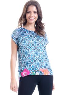 Blusa 101 Resort Wear Cropped Cetim Estampa Floral Barrado Azul