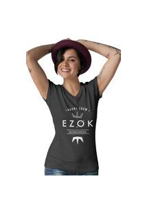 Camiseta Feminina Gola V Ezok Royal Crew Preto