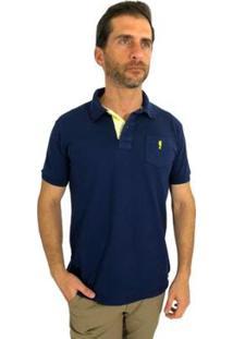 Camisa Polo Mister Fish Sea Horse Bolso Masculina - Masculino-Marinho