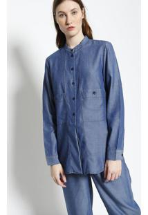 Camisa Com Linho & Bolsos- Azul- Lacostelacoste