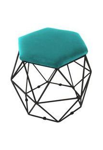 Puff Aramado Preto Assento Hexagonal Suede Azul Tiffany - Ds Móveis