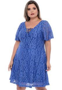 Vestido Azul Renda Festa Plus Size