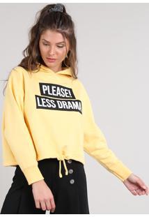 """Blusão Feminino """"Please! Less Drama"""" Com Capuz Em Moletom Amarelo"""