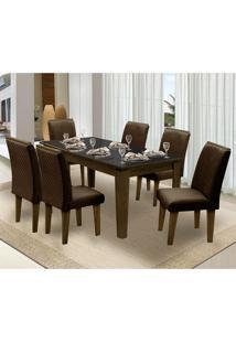 Mesa Para Sala De Jantar Saint Michel Com 6 Cadeiras – Dobuê Movelaria - Castanho / Preto / Chocolate