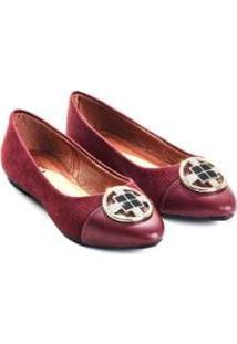 Sapatilha Mizzi Shoes Camurça Com Fivela Feminina - Feminino-Vinho