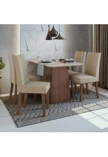 Conjunto Sala De Jantar Mesa Vidro/Mdf E 4 Cadeiras Rock Móveis Lopas Imbuia Naturale/Veludo Naturale Creme