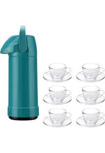 Kit 1 Garrafa Térmica De Pressão Azul 1L E 6 Xícaras De Café Sture Móveis