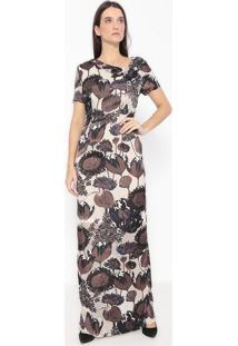 Vestido Longo Floral - Marrom Escuro & Bege Claro - Alexandre Herchcovitch