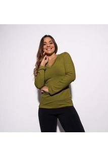 Blusa Caqui Gola V Lisa Feminina - Feminino-Verde