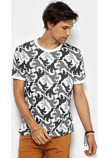 Camiseta Cavalera Camuflada Garras Masculina - Masculino-Branco